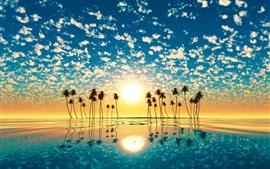 Aperçu fond d'écran Palmiers, Silhouette, Mer, Réflexion sur l'eau, Nuages, Tropical