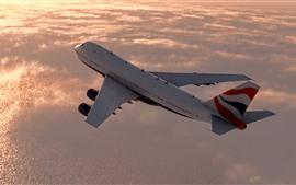 Preview wallpaper Passenger plane, flight, sky, clouds