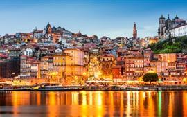 壁紙のプレビュー ポルトガル、港、住宅、ライト、川、市、夕暮れ