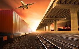 Железная дорога, поезд, вокзал, самолет, небо, восход солнца, блики