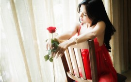 Preview wallpaper Red skirt Chinese girl sit on chair, rose