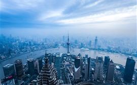 Vorschau des Hintergrundbilder Shanghai, Stadt, Fluss, Morgen, Nebel, Wolken, Wolkenkratzer, China