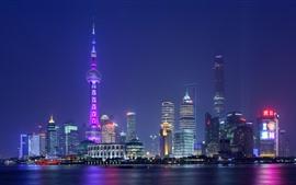 壁紙のプレビュー 上海、市、高層ビル、ライト、川、中国