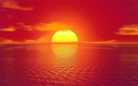壁紙のプレビュー 夕日、海、反射、暖かい、創造的な写真