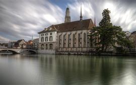 Vorschau des Hintergrundbilder Schweiz, Zürich, Brücke, Häuser, Baum, Fluss, Stadt