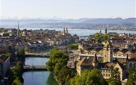 Suiza, Zúrich, Ciudad, Río, Puente, Árboles, Casas