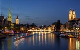 Suiza, Zúrich, Río, Puente, Luces, Noche
