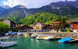 Vorschau des Hintergrundbilder Schweiz, Berge, See Interlaken, Boote, Bäume, Grün
