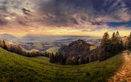 미리보기 배경 화면 스위스, 산, 슬로프, 잔디, 나무, 경로, 가을