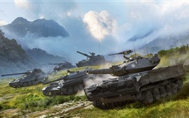 Preview wallpaper Tanks, dust, grass, clouds