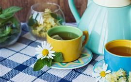 壁紙のプレビュー お茶、カップ、花、ティーポット、デイジー