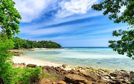 Vorschau des Hintergrundbilder Thailand, Meer, Strand, Insel, Bäume, blauer Himmel, Wolken