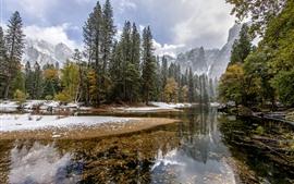 Aperçu fond d'écran Arbres, neige, ruisseau, montagnes, nature paysage, hiver