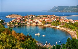 Preview wallpaper Turkey, bay, houses, boats, sea