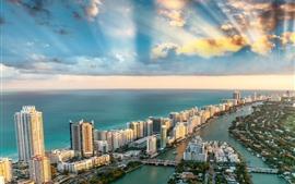 Vorschau des Hintergrundbilder USA, Miami, Stadt, Wolkenkratzer, Meer, Küste