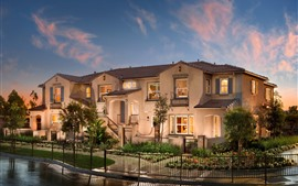 Aperçu fond d'écran Villa, maison, nuit, lumières, clôture