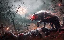 Vorschau des Hintergrundbilder Wolf, Bäume, kreatives Design