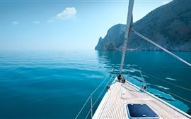 Vorschau des Hintergrundbilder Yacht, Felsen, blaues Meer, Griechenland