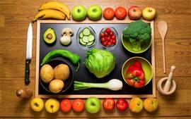 frutas e legumes, maçã, banana, pêssego, ameixa, batata, faca